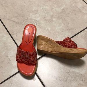 Athena Alexander orange wedge sandal.